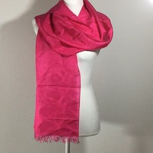 "Accessories - Long Hot Pink 100% Silk Scarf Fringed 10"" x 82"""